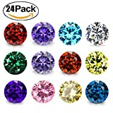 zirconia crystal - Wholesale 24PCS Crystal Glass Zircon Round 5MM Birthstones Floating Charms Bulk for Living Memory Locket Pendant Necklace (Round)