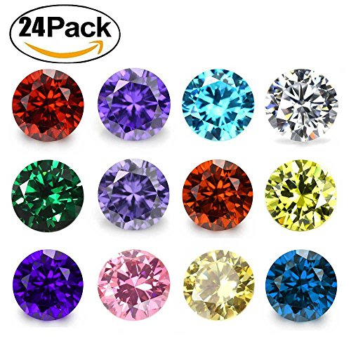 Wholesale 24PCS Crystal Glass Zircon Round 5MM Birthstones Floating Charms Bulk for Living Memory Locket - Necklace Swarovski Charm Crystal