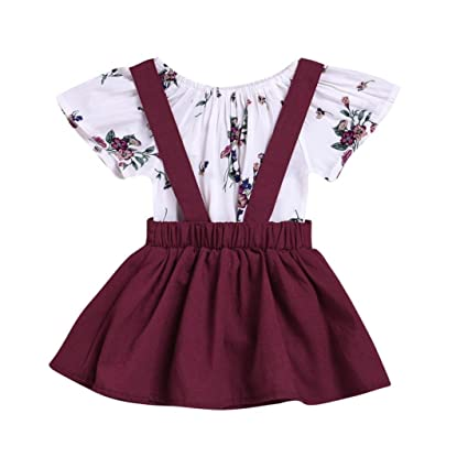 dc6005991bac Sinfu 2Pcs Infant Baby Girls Floral Print Rompers Jumpsuit Strap Skirt  Outfits Set (0-