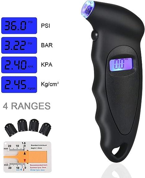 URAQT Manómetro Digital Presión Neumáticos, Manómetro Electrónico de Neumáticos, Medidor de Presión Neumáticos con Pantalla LCD Retroiluminada para Auto,Motocicleta ...