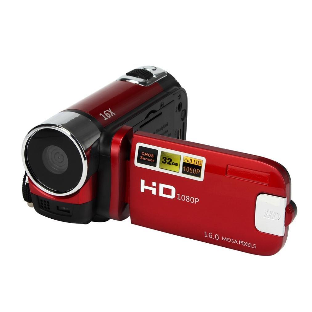 Creazy ® HD 1080p 16 M 16 xデジタルズームビデオビデオカメラカメラDV シルバー fe393 B01HHO785Q  レッド