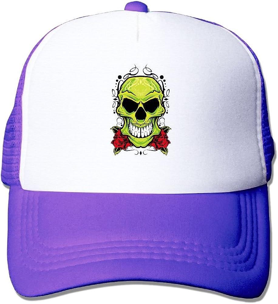Teesofun Mesh Baseball Caps Cool Green Skull Art Unisex Adjustable Sports Trucker Cap