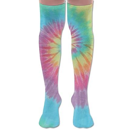Pastel - Calcetines de poliéster y algodón en espiral para piernas altas, sexy y unisex