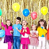 4 Pack Foil Curtains Metallic Fringe Curtains Shimmer Curtain for Birthday Wedding Party Christmas Decorations (Gold and Black)