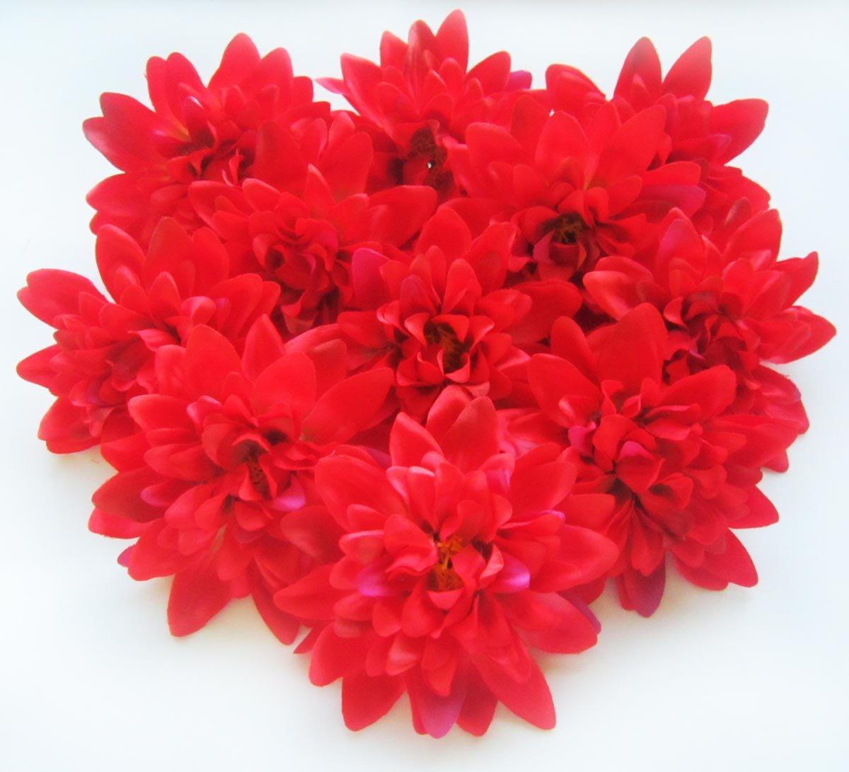 Amazon 12 Red Silk Dahlia Flower Heads 4 Artificial