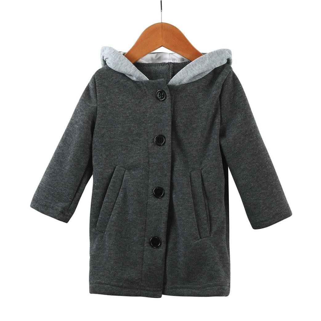 KONFA Girls Boys Hooded Rabbit Ears Wind Coat,Suitable for 1-8 Years Old,Winter Warm Thick Jacket Clothes