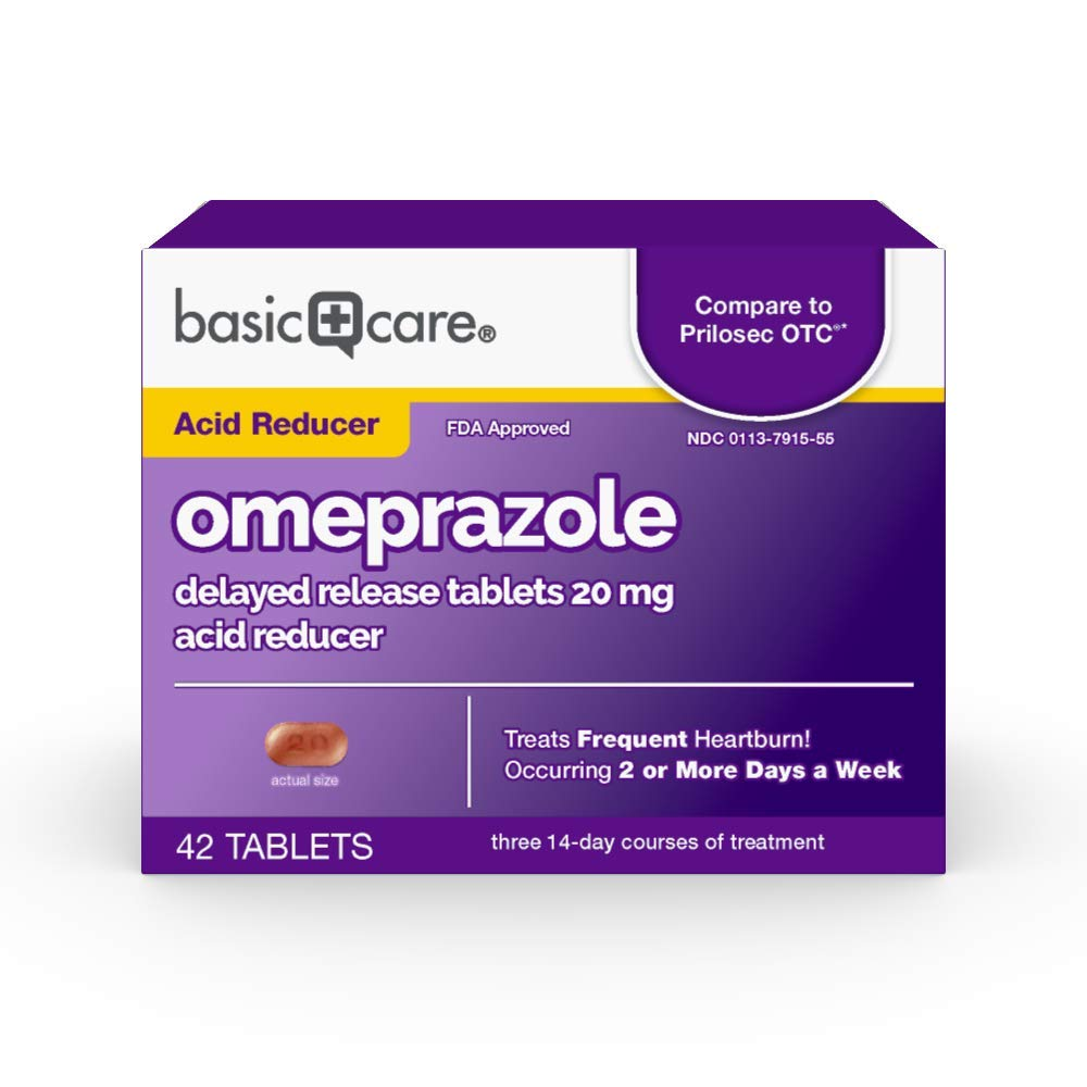 Basic Care Omeprazole Delayed Release Tablets 20 mg, Acid Reducer, 42 Count by Basic Care
