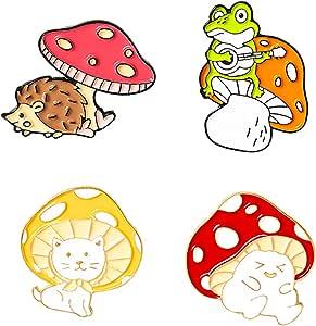 BeeGift Enamel Brooch Pins Cute Cartoon Mushroom Brooches Cat Frog Hedgehog Animal Plant Brooch Pin for Backpack Clothes DIY Party Decoration