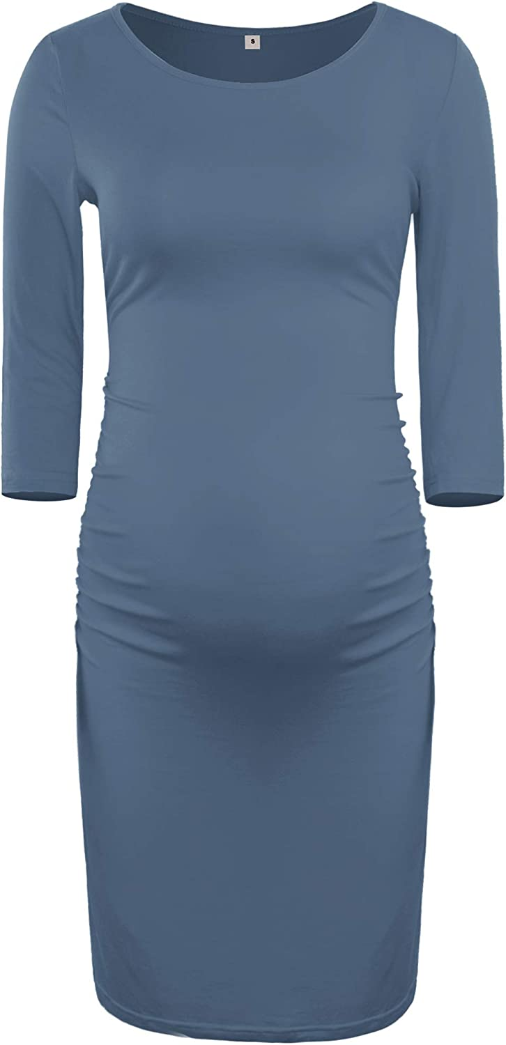 AMPOSH Womens Maternity Bodycon Dress Casual Ruched 3//4 Sleeve Pregnancy Dress for Photoshoot and Daily Wear