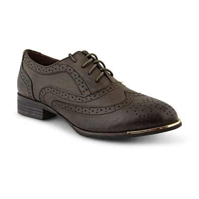 Womens Flat Shoes Ladies Dolcis Lace Up Smart Office Vintage Brogue Shoes Size MS_9900