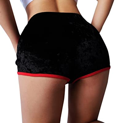 Kintaz Women's Soft Stretchy Drawstring Mid Waist Velvet Club Shorts