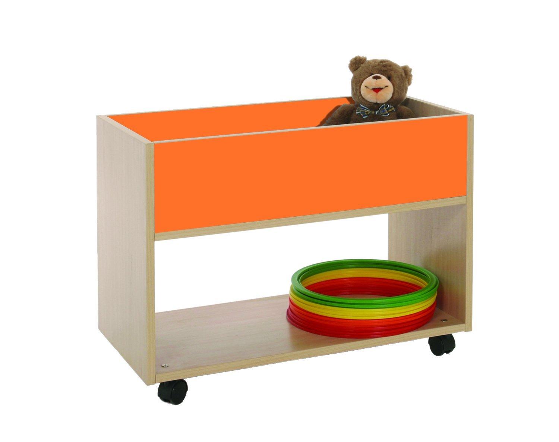 Mobeduc 600906HR19 - Carro Alto para Actividades artísticas, Madera, Color Haya y Naranja, 80 x 40 x 58 cm