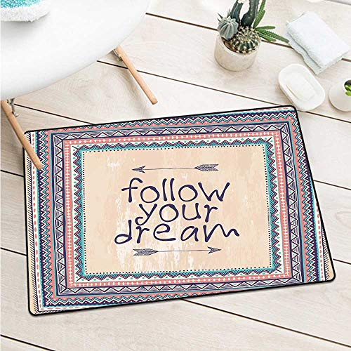 Custom&blanket Tribalinspirational Quote Follow Your Dream and Arrows Aztec Framed Graphic Art Print Door Mat is Odorless and Durable (W15.7 X L23.6 inch,Tan Coral Blue)