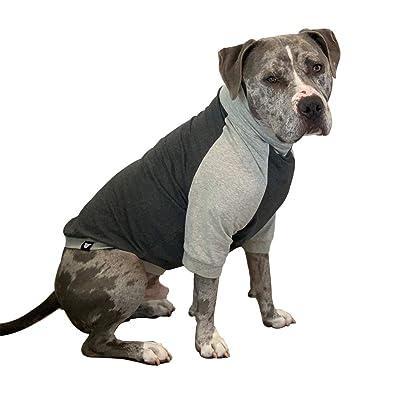 Tooth & Honey Large Dog Clothing/Dog Pullover/Light Weight Shirt/Color Block Shirt/Summer Shirt/Dark Grey/Allergy Shirt