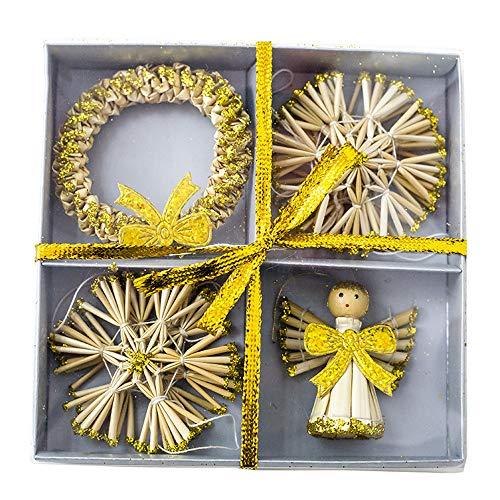 Christmas Pendant, baskuwish Selling Straw Angel Wreath Pendants Xmas Tree Ornaments Home Decoration Supply (Gold)