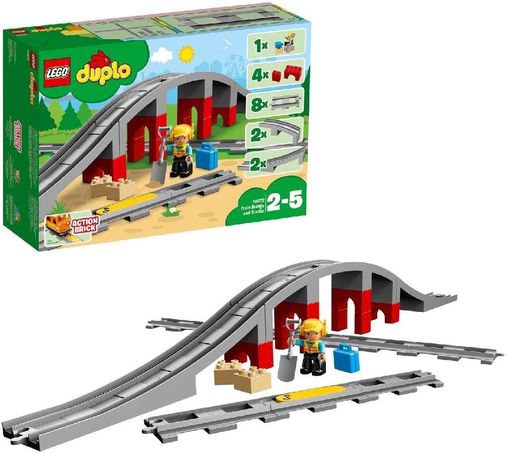 LEGO DUPLO Town - Vías Ferroviarias, Juguete de Preescolar para Complementar los Sets de Trenes Divertidos para Niños y Niñas de 2 a 5 Años (10872)