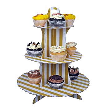 Ez Life 3 Tier Diy Cupcake Stand Disposable Cupcake Tower Party Supplies Mix Color Gold