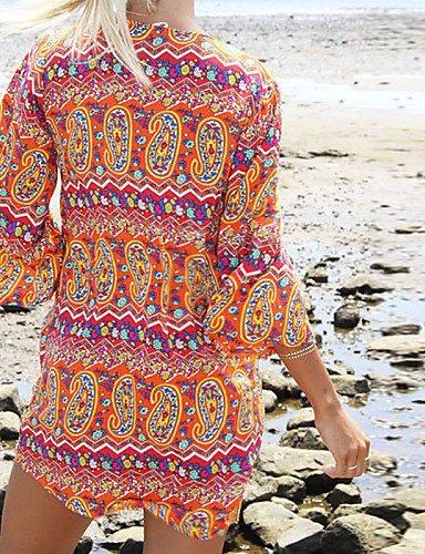 PU&PU Robe Aux femmes Ample Décontracté , Imprimé Col en V Mini Coton , multi-color-xl , multi-color-xl
