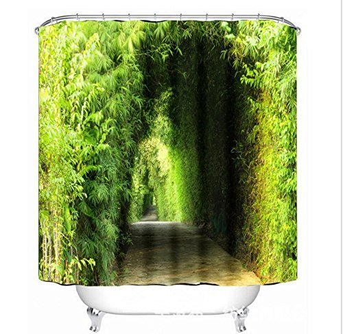 CCYYJJ Shower Curtain Bamboo Forest Green 3D Printing Polyester Sealing And Air Curtains 200180 Cm, The Conclusion Of The Downy Mildew