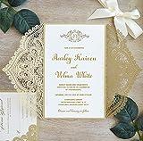 Picky Bride Gold Lace Wedding Invitations Suite Elegant Laser Cut Invitation Customized Wedding Cards - Set of 50 pcs (Customized Invitations)