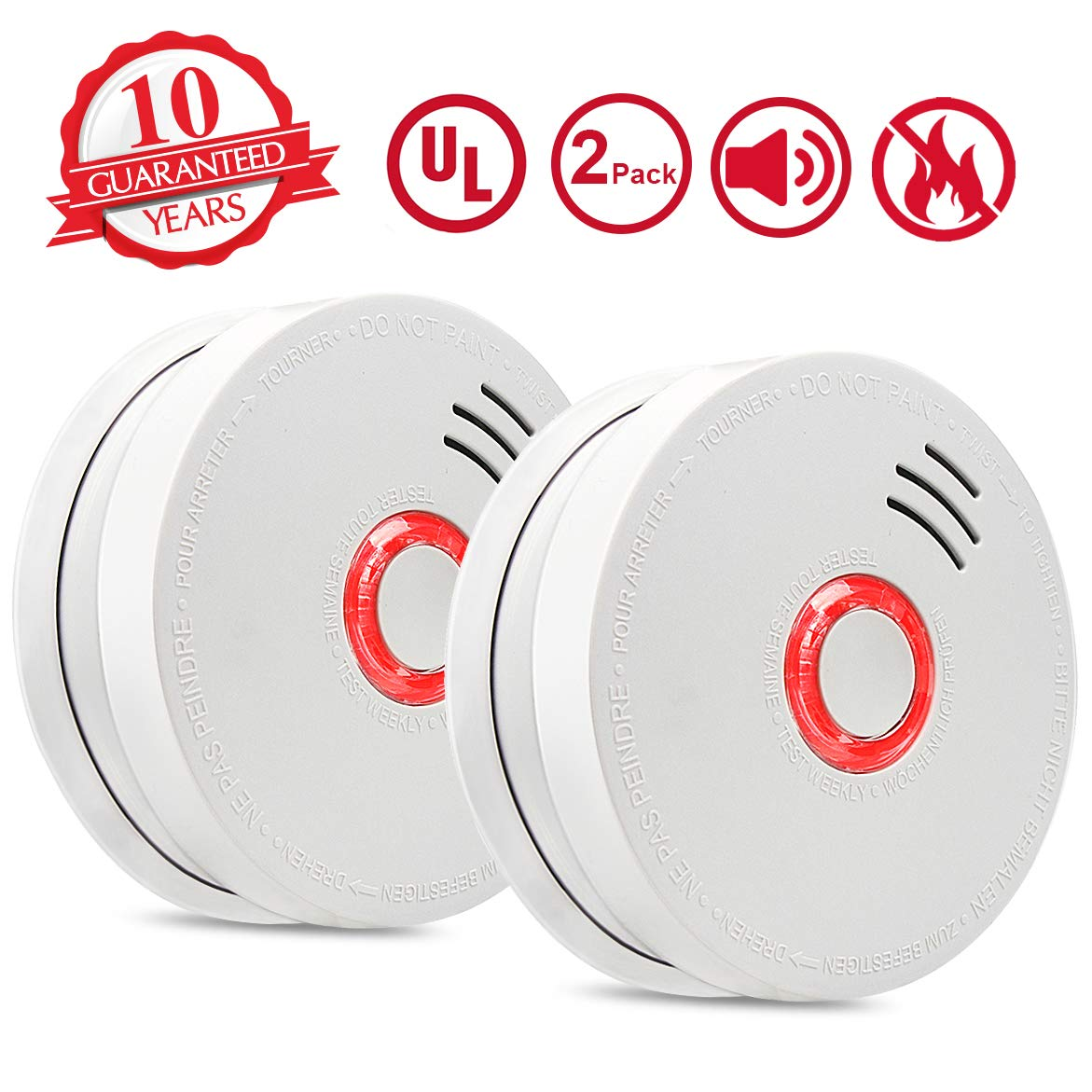 Smoke Alarm Fire Alarm 2 Pack Smoke Detector with Test Button 9V Battery Powered Included Photoelectric Smoke Alarms with UL Listed Fire Safety for Bedroom Kitchen Corridor Bathroom and Hotel