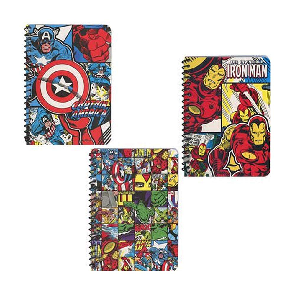 [3-Pack] Classic Marvel Comics 5x7'' Spiral Notebooks with 48 Wide-Ruled Sheets, Captain America, Iron Man