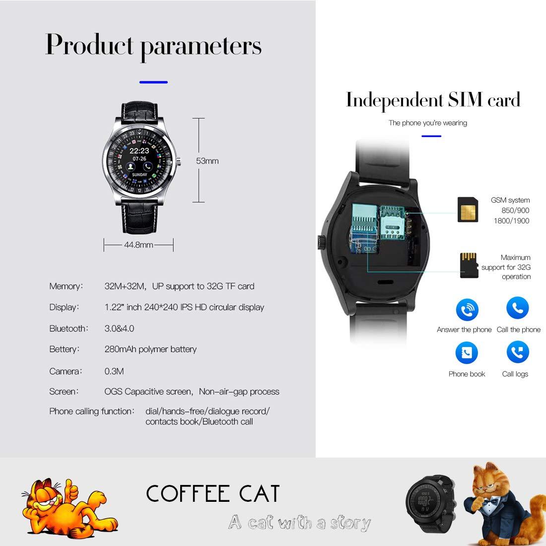 COFFEE CAT herr klocka smart klocka sport fitness pulsmätare sovskärm kaloriräknare kan telefonkort oberoende användning SVART