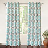 "Cheap DriftAway Bella Medallion/Floral Pattern Room Darkening/Thermal Insulated Grommet Window Curtains, Two Panels, each 52""x84"" (Aqua/Gray)"