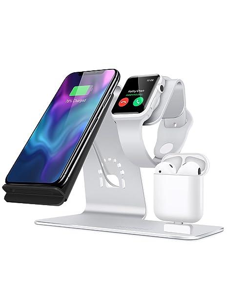 Bestand 3 en 1 Apple iWatch de Aluminio, Zona de Carga para AirPods, Cargador