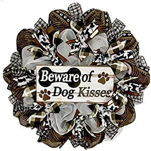 Beware Of Dog Kisses Door Wreath Handmade Deco Mesh 54
