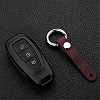 [M.JVisun] Car Key Fob Cover For Ford Focus EcoSport KUGA Mondeo iVCT Remote Key Engine Start Stop , Smart Car Key Case Cover Skin Protector, Aircraft Grade Aluminum + Genuine Leather Keychain - Black