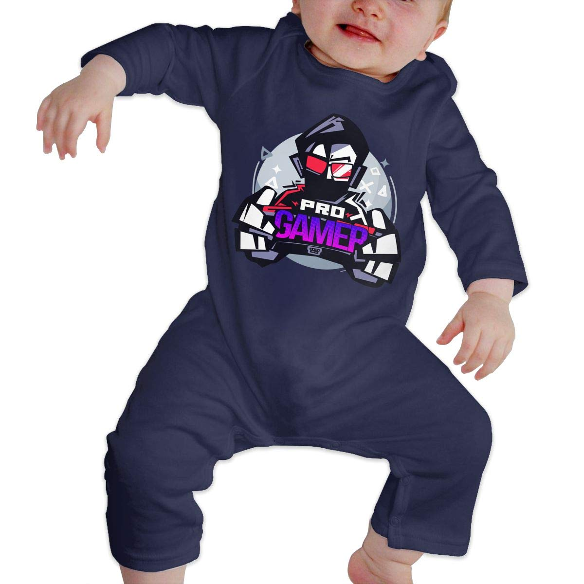 Baby Boy Girl Crew Neck Long-Sleeve Solid Color Onesie Pro Gamer Gamer Logo Crawling Suit