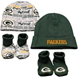 NFL Green Bay Packers Infant Clothing Set, 4-Piece, 2 Caps & 2 Booties, 0-6 Months