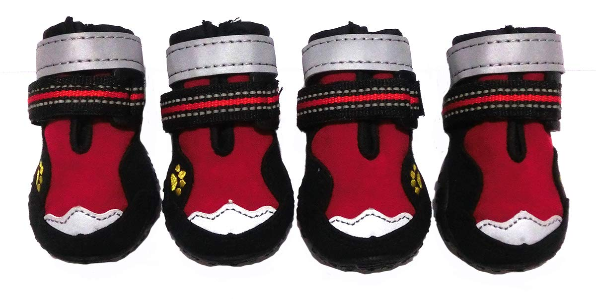 Xanday Dog Boots Waterproof Dog Shoes, Paw Protectors with Reflective and Adjustable Straps and Wear-Resisting Soles,4PCS (2, Red) by Xanday