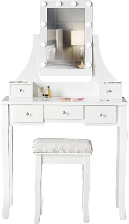 Arianna Deluxe White Dressing Table With Hollywood Led Lights Bulbs Vanity Mirror 5 Drawers Stool For Makeup Bedroom Jewellery Set Amazon Co Uk Kitchen Home