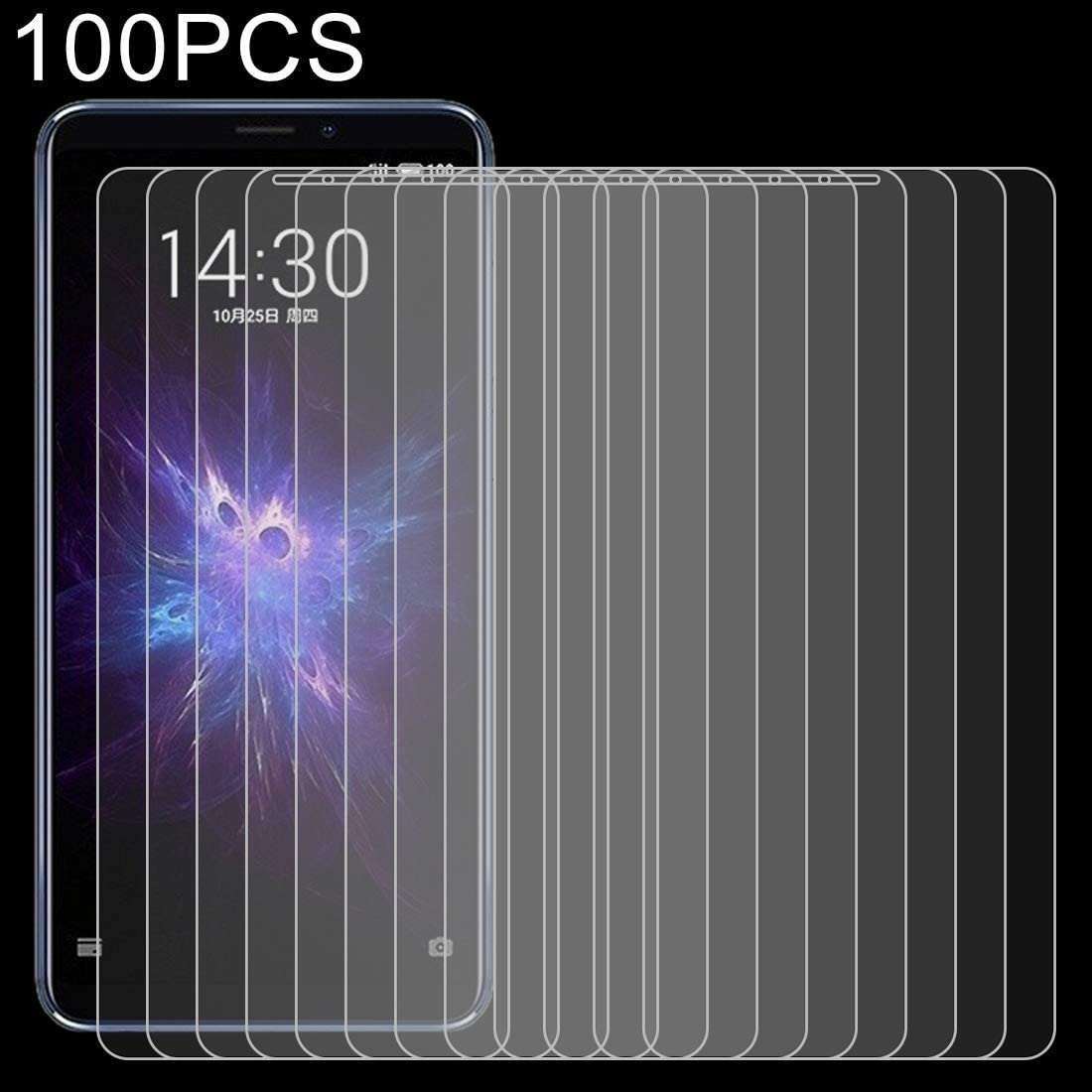 GzPuluz Glass Protector Film 100 PCS 0.26mm 9H 2.5D Explosion-Proof Tempered Glass Film for Meizu Note 8