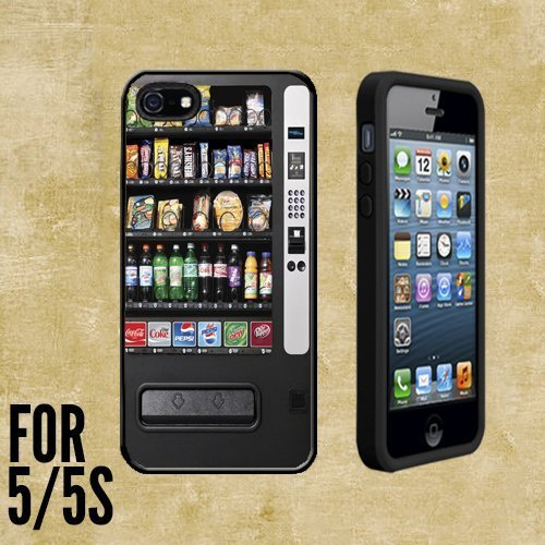 Vending Machine Custom made Case/Cover/skin FOR Apple iPhone 5/5S - Black - Rubber Case + FREE SCREEN PROTECTOR ( Ship From CA) ()