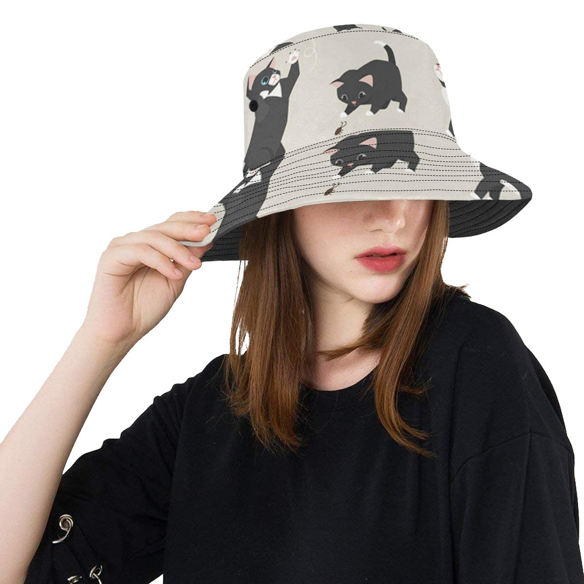 Women and Men with Customize Top Packable Fisherman Cap for Outdoor Travel Little Funny Cats Playing Ball New Summer Unisex Cotton Fashion Fishing Sun Bucket Hats for Kid Teens