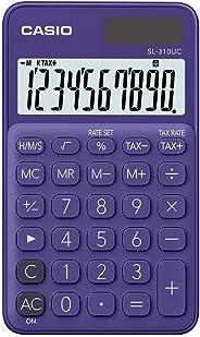 Calculadora Portátil Casio c/ visor amplo 10 dígitos e alimentação Dupla Casio, Roxa