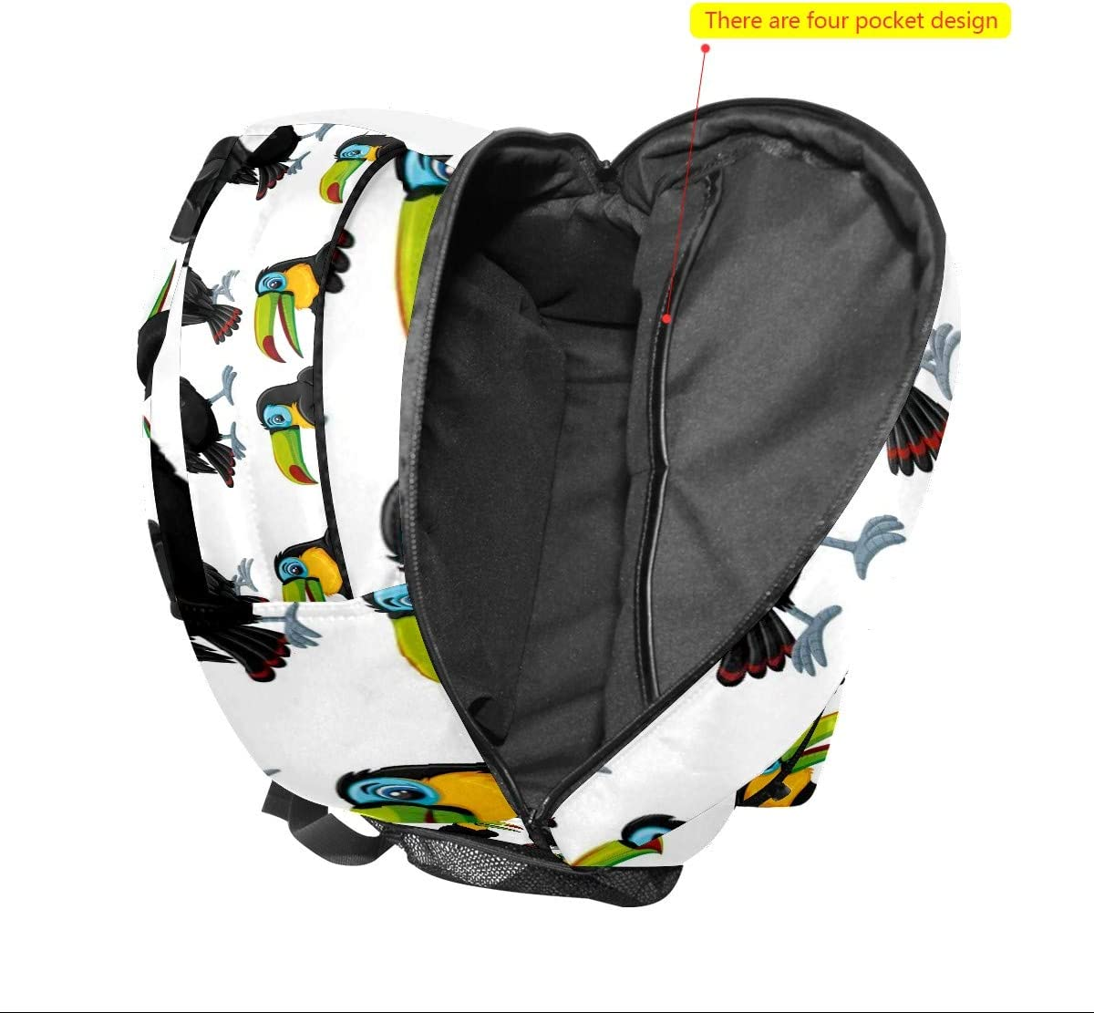 Backpack Toucan Bird Black Yellow Mouth Pattern Canvas School Bags Laptop Daypack