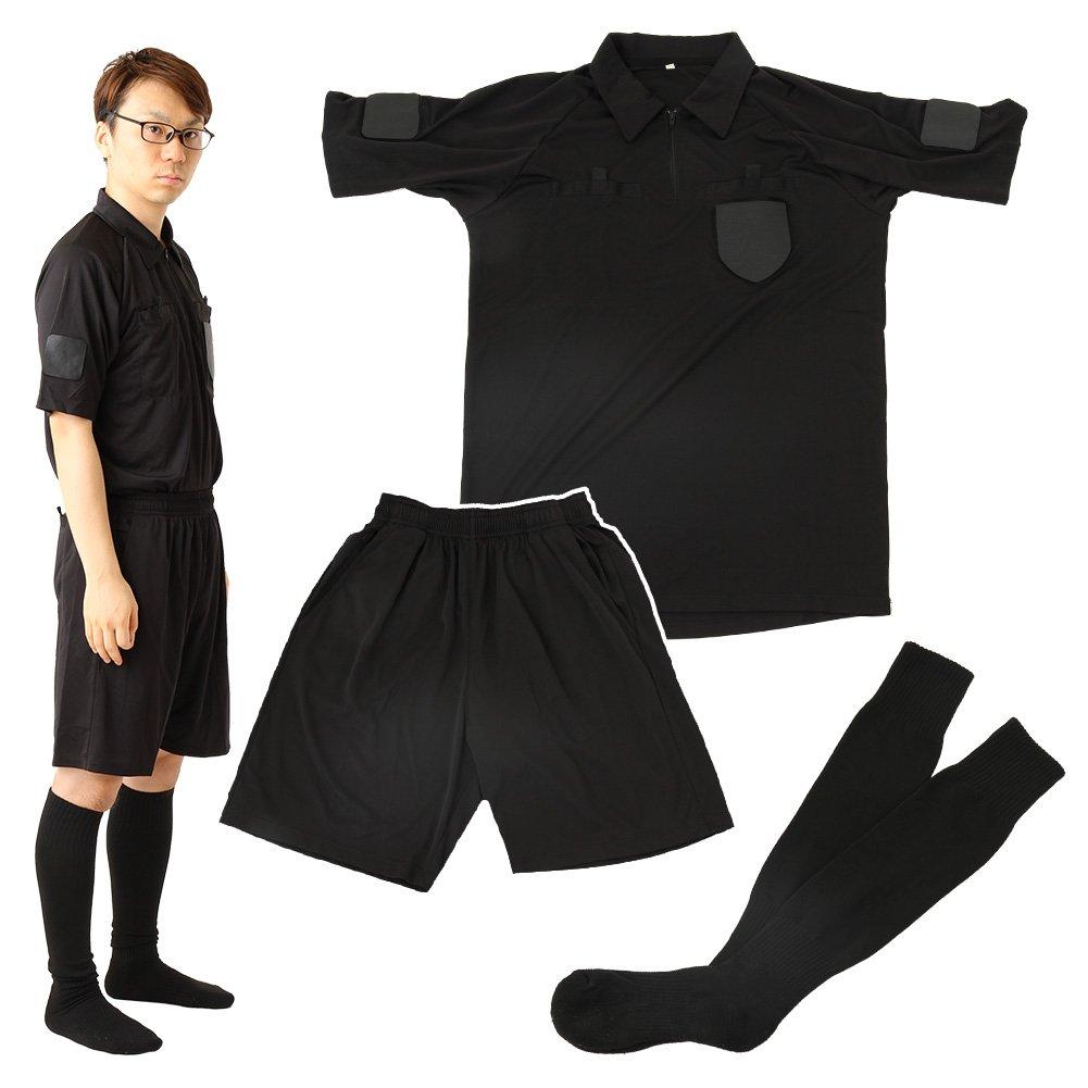 rioh サッカー審判服 3点セット(半袖シャツ + ハーフパンツ + ソックス) レフリーウェア ユニフォーム ブラック 黒 B076C8N7JF Mサイズ ×2着
