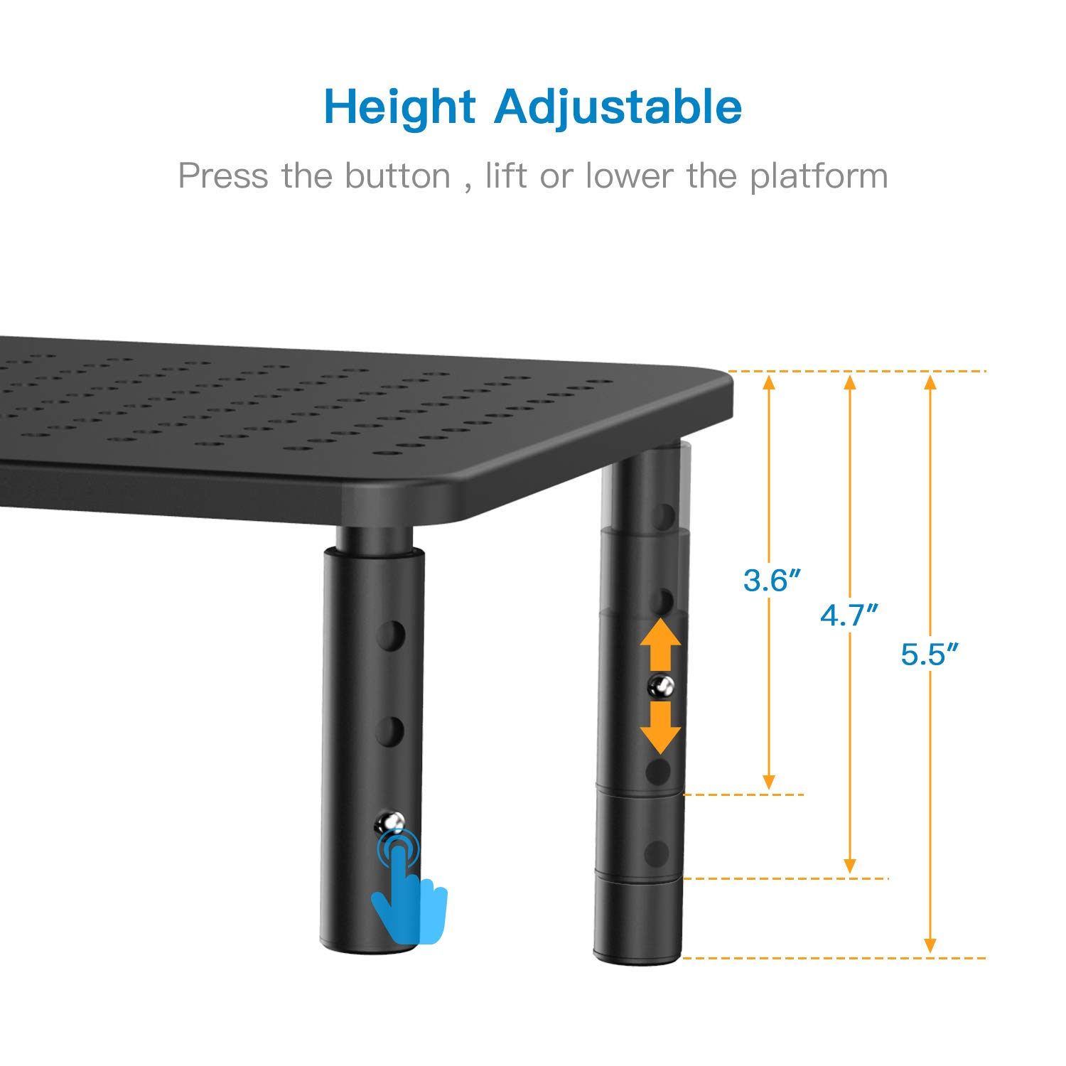 Monitor Stand Riser - 3 Height Adjustable Monitor Stand for Laptop, Computer, iMac, PC, Printer, Desktop Ergonomic Metal Monitor Riser Stand with Mesh Platform for Airflow by HUANUO by HUANUO (Image #2)