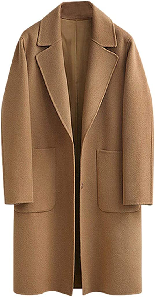 Winter Mantel f/ür Damen Lang Wollmantel Gro/ßE Gr/ö/ßEn Trenchcoat,Kanpola Warm Frauenmantel Beil/äUfige Business Blazermantel mit Eingekerbter-Kragen Taschen Lose Outwear