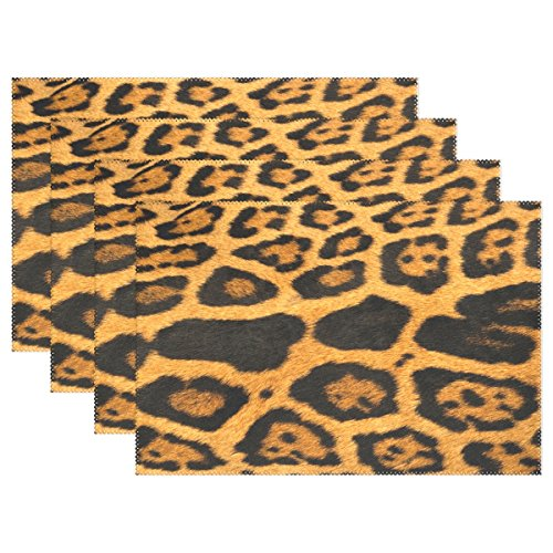 YPink Giraffe Fur Grain Placemats Set Of 4 Heat Insulation Stain Resistant For Dining Table Durable Non-slip Kitchen Table Place Mats