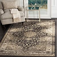 Safavieh Vintage Collection VTG574F Transitional Oriental Medallion Black and Ivory Distressed Area Rug (4' x 5'7')