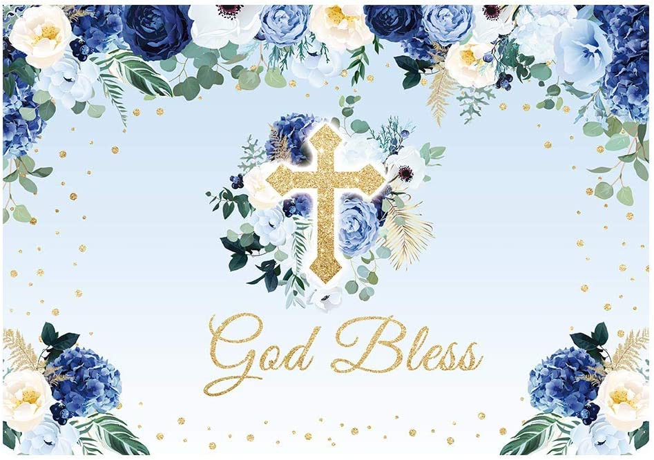 Funnytree 7x5FT God Bless Backdrop Baptism Party First Holy Communion Christening Banner Decor Blue Flower Boy Baby Shower Background Favors Gifts Supplies Photo Booth Props