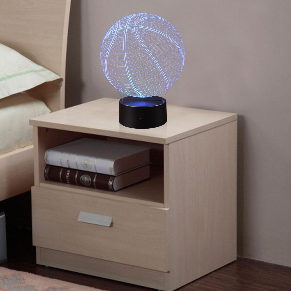 3D Illusion Basketball Night Light Lamp with 7 Color Change, Touch Base, Power by AA Batteries by AZALCO (Image #6)