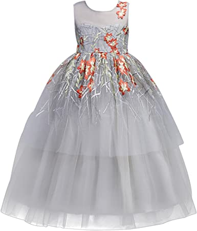 CHICTRY Toddler Baby Girls Floral Embroidered Tulle Tutu Long Sleeve Wedding Bridesmaid Party Princess Dresses