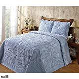 1pc 81 X 110 Oversized Blue Chenille Bedspread Twin, French Florals Medallion Cotton Classic Vintage Retro Antique Hangs Floor Bedding, Extra Long Wide Soft Country