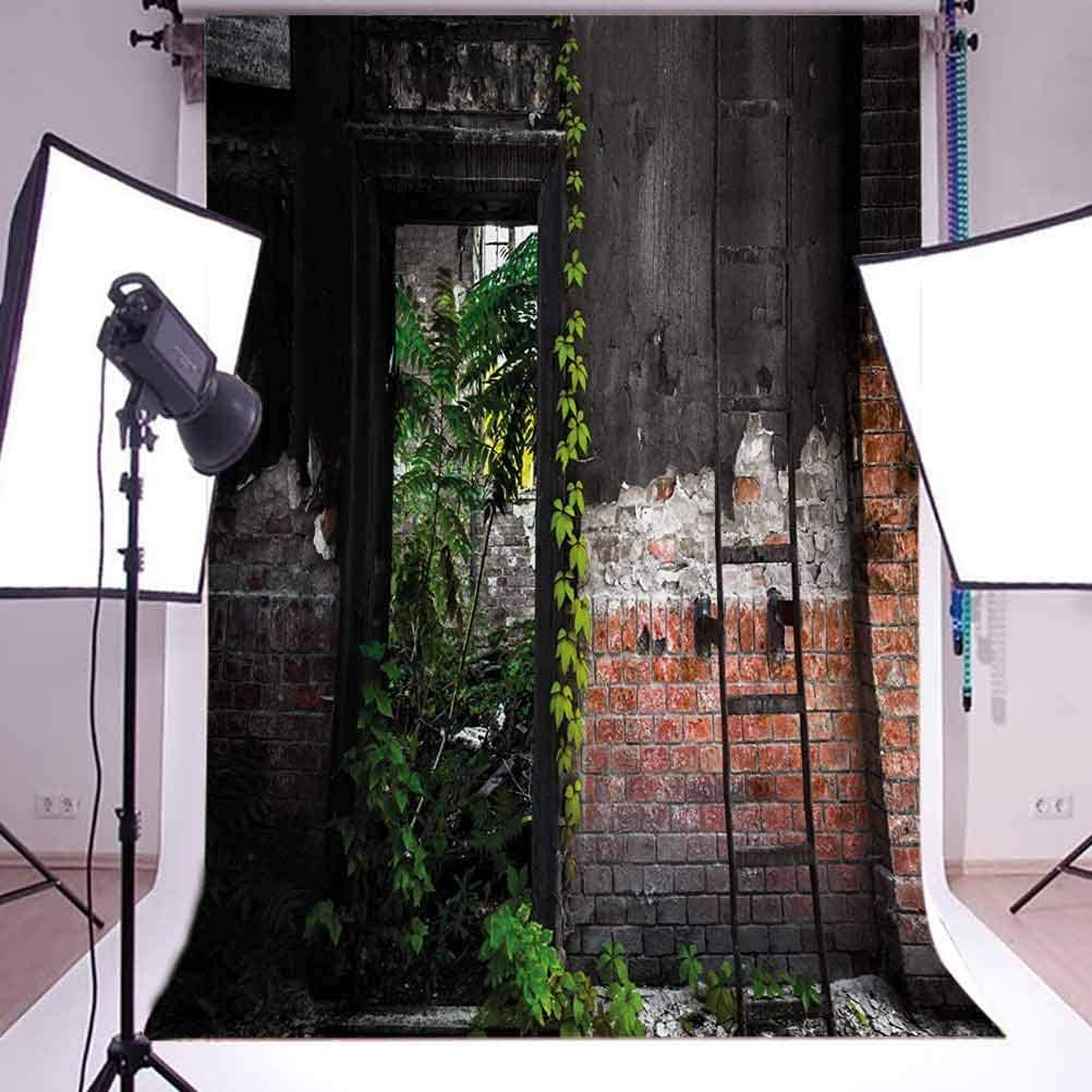Industrial 6.5x10 FT Photo Backdrops,Old Door Opening in a Desolate Industry Building Brick Wall with Ivy Plants Background for Party Home Decor Outdoorsy Theme Vinyl Shoot Props Multicolor